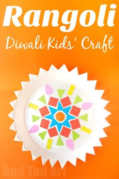 Paper Plate Rangoli Kids' Diwali Craft - Red Ted Art - Make crafting with kids easy & fun Paper Plate Rangoli Kids' Diwali Craft! What a fun and easy craft for this fun autumn holiday! A great way to celebrate and international holiday with kids! Easy Paper Crafts, Easy Crafts For Kids, Art For Kids, Craft Kids, India For Kids, Card Crafts, Diwali Party, Diwali Diy, Diwali Rangoli
