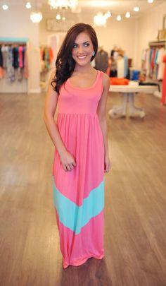 Dottie Couture Boutique -  Chevron Maxi- Pink/Mint, $49.00 (http://www.dottiecouture.com/chevron-maxi-pink-mint-1/)