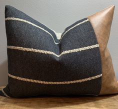 Your place to buy and sell all things handmade Excited to share this item from my shop: Scarlette - Heathered Navy & Faux Leather lumbar pillow cover Black Cushions, Brown Pillows, Scatter Cushions, Blue Pillows, Crochet Pillow Patterns Free, Brown Leather Chairs, Beige Living Rooms, Leather Pillow, Colorful Pillows
