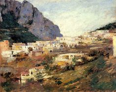 """""""Capri and Mount Solaro,"""" Theodore Robinson, oil on canvas, Museum of Fine Arts, St. Museum Of Fine Arts, Art Museum, Theodore Robinson, A4 Poster, Poster Prints, Destinations, Local Museums, Italy Tours, France"""