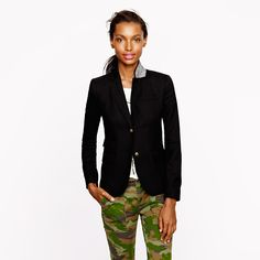 J.Crew blazer and camo pants