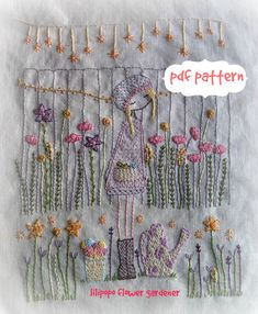 flower gardener hand embroidery pattern PDF by LiliPopo on Etsy