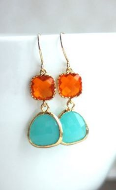 aqua and apricot - loving these colors together!