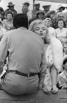 """Marilyn Monroe and Eli Wallach on the set of """"The Misfits"""", 1960"""