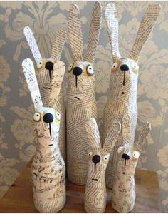 Funny Easter decoration Bunnies Newsprint Paper mache – # Bunny decoration # Paper mache # Funny paper - All About Diy And Crafts, Arts And Crafts, Paper Mache Crafts For Kids, Paper Mache Projects, Diy Projects, Paper Mache Sculpture, Spring Crafts, Easter Crafts, Bunny Crafts