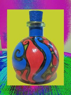 Funky and Original Art On Bottles - Red And Blue $25.00