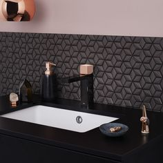 Dorf Epic Bloc Mixer Tap in Black and Rose Gold