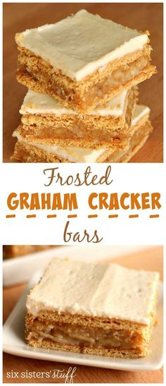 Frosted Graham Cracker Bars from Six Sisters' Stuff | A super easy dessert recipe with the delicious taste of graham crackers, butter, coconut and walnuts. Top it off with a buttercream frosting. Your family will thank you for these babies!!