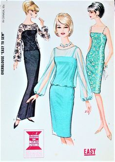 Evening Sheath Cocktail Dress Pattern Figure Molding Sheath With Sheer Overblouse Timeless Fashion McCalls 7482 Vintage Sewing Pattern - Authentic vintage sewing patterns: This is a fabulous original dress making pattern, not a copy. Dress Making Patterns, Vintage Dress Patterns, Clothing Patterns, Vintage Dresses, Vintage Outfits, 1960s Dresses, 1960s Fashion, Timeless Fashion, Vintage Fashion