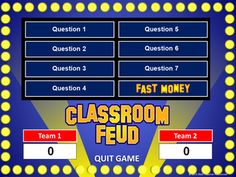 I love Family Feud! Classroom Feud PowerPoint Template - Plays Like Family Feud Study Websites, Teacher Websites, Teacher Resources, School Classroom, Classroom Activities, Classroom Ideas, Future Classroom, History Classroom, Science Classroom