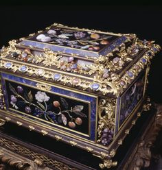 Ebony casket with gilt bronze mounts incorporating hard stone fruits and with panels of pietre dure, made in Florence, at The Vyne. Inv. no. 718777. ©National Trust Images/James Mortimer