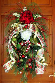 Christmas wreath Christmas swag teardrop by Southernbornnblessed