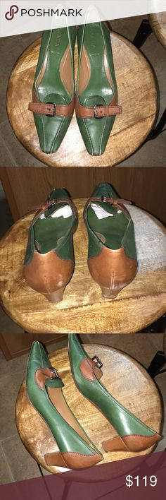 Prada Green and brown leather, good condition 10 Prada kitten heels size 10 Brown and green slight scuffs easy fixes very good condition Prada Shoes Heels