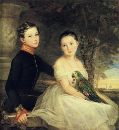 Children with Parrot, 1850 by Christina Robertson