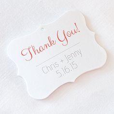 Thank You Wedding Tags Customized Wedding Tags by OrangeUmbrellaCo