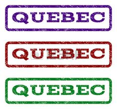 Quebec watermark stamp. Text caption inside rounded rectangle frame with grunge design style. Vector variants are indigo blue, red, green ink colors. Rubber seal stamp with scratched texture.