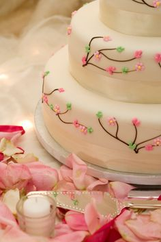 Cherry blossom cake, elegant & simple