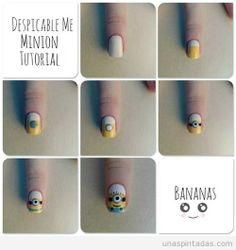 Diseño de uñas paso a paso, cómo dibujar Minion de Gru en las uñas