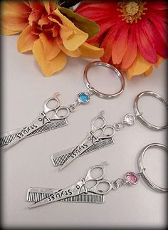 Hair Stylist Scissor and Comb Charm Keychain by ShearStyleJewelry, $10.00