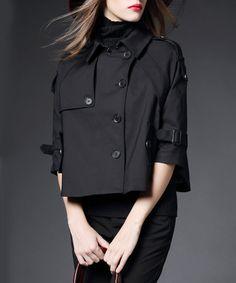 Black cotton blend button jacket - Burdully
