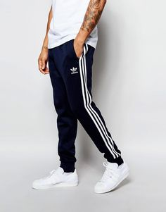Mega fede adidas Originals Superstar Cuffed Track Pants AJ6961 - Blue adidas Originals Joggers til Herrer til hverdag og til fest