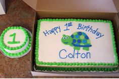 Turtle First Birthday - Made to match party decor. Good idea for Kalebs first birthday since he our little turtle