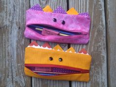 Gobbler pencil cases made with a free pattern from Shiny Happy World.