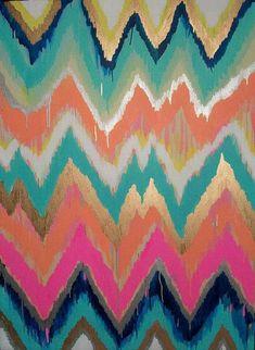 Suzie: Art/Wall Decor - Custom ikat chevron 36x48 Painting by Jennifer by JenniferMoreman - ikat, chevron, painting, art