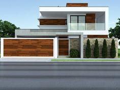Proyectos CostaFizinus Arquitetos is part of Facade house - Modern House Facades, Modern House Design, Modern Architecture, Front Wall Design, Modern Garage Doors, House Gate Design, House Entrance, Facade House, Exterior Design