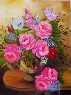 pinturas de regina schwingel - Pesquisa Google Oil Painting Flowers, Watercolor Flowers, Stencil Painting, Painting & Drawing, Cross Stitch Games, Beautiful Rose Flowers, Spring Pictures, Acrylic Painting Techniques, Arte Floral
