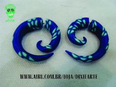 Falso Alargador Espiral Feito em cerâmica plástica Produto 100% artesal  www.airu.com.br/loja/dixiearte