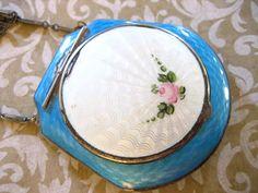 Antique Robins Egg Blue n White Guilloche Enamel Compact w Mirror Purse. $68.00, via Etsy.