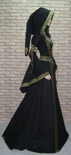 black medieval dress with gold trim and hood