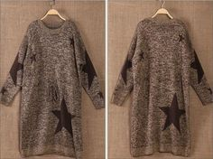 2016 Winter New Thickened Women Knitted Long Dress Long Sleeve Round Neck Loose Plus Size Casual Print Pullover Bottoming Dress