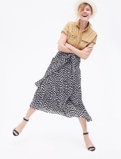 J.Crew Looks We Love: women's garment-dyed utility popover, panama hat, high-heel ankle-strap sandals and silk skirt in Ratti® polka dot.