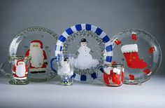 Painting On Plates and Platters   serve your guests cake on these splendid hand painted Christmas plates ...