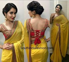 raashi_khanna_shilpa_reddy_yellow_saree_tie_back_blouse_bathukamma.jpg pixels Elegant Indian Sari Press Visit link above for more options Choli Designs, Saree Blouse Neck Designs, Fancy Blouse Designs, Bridal Blouse Designs, Mehndi Designs, Designer Blouse Patterns, Designer Saree Blouses, Kurti Patterns, Sewing Patterns