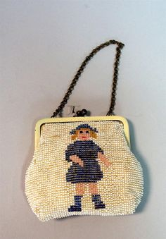 Child's Vintage Beaded Handbag w Girl Figure Made in Czechoslovakia