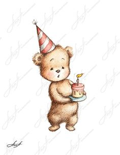 The drawing of teddy bear with birthday cake. Printable Art. Digital file. Instant Download