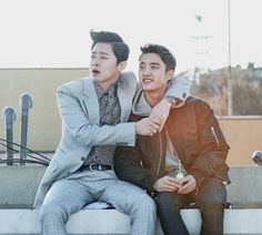 """The new movie """"My Annoying Brother"""" will hit theaters this week. EXO idol group member D. played with acclaimed actor Jo Jung-Suk in a comedy drama. Korean Men, Korean Actors, Korean Dramas, Hyung Movie, Drama Movies, New Movies, Live Action, My Annoying Brother, Cho Jung Seok"""