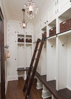 Sliding ladder and baskets and chandelier.  :)