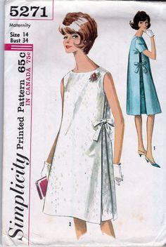 Simplicity 5271; ©1963; Maternity One-Piece Dress; Size 14, B34 MINT - New Vintage Studio