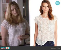 Ali's white lace top on Pretty Little Liars.  Outfit Details: http://wornontv.net/49944/ #PLL