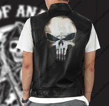Dropshipping Superhero Punisher Jacket Harley Motorcycle Embroidery Leather Vest Black Punk Jacket  Cosplay costume(China)