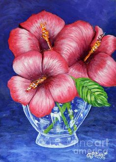 Hibiscus in Glass Vase. Oil on canvas by Caroline Street. #hibiscus #flowers #pink and blue #flower-art #still-life art