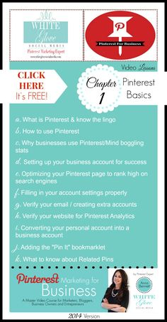 #PinterestExpert shares FREE CHAPTER 1 VIDEO LESSONS: Pinterest Marketing For Business; A Master Video/Live Course for Marketers, Bloggers, Business Owners & Entrepreneurs. CLICK here to get your free Pinterest video tutorial and lessons. www.whiteglovesoc... #PinterestCourse #PinterestForBusiness