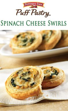Puff Pastry Spinach Cheese Swirls Recipe. These delicious appetizers look like they\'re difficult to make...but they\'re not. They feature a spinach, onion and cheese filling, simply rolled-up in flaky Puff Pastry and sliced into pinwheels. An easy and impressive appetizer for your next holiday gathering. www.puffpastry.co...