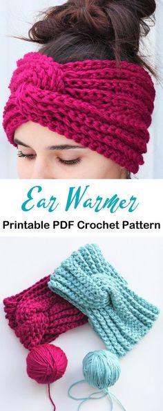 Make a Cozy Ear Warmer - Crochet Crochet Headband Free, Crochet Beanie, Free Crochet, Knit Crochet, Crocheted Hats, Crochet Cardigan, Crochet Ear Warmer Pattern, Crochet Mug Cozy, Crochet Stitches