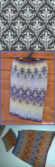 Knitting Patterns Skirt Two jacquard skirts according to the same scheme))) - Knitting - Stra . Fair Isle Knitting Patterns, Fair Isle Pattern, Knitting Charts, Sweater Knitting Patterns, Knitting Stitches, Knitting Designs, Knit Patterns, Crochet Chart, Knit Crochet