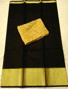 Latest Plain Kota sarees with gold embroidery Blouse Price : 1300+$ #kotasaree #embroidary #blouse